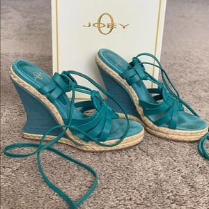 Joey Womens Lace Up Wedges Turquoise Size 5